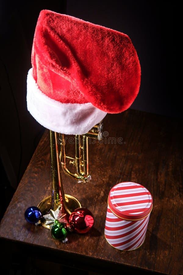 Trombeta da m?sica do Natal foto de stock