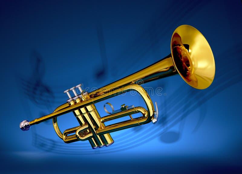 Trombeta de bronze com contexto musical ilustração royalty free