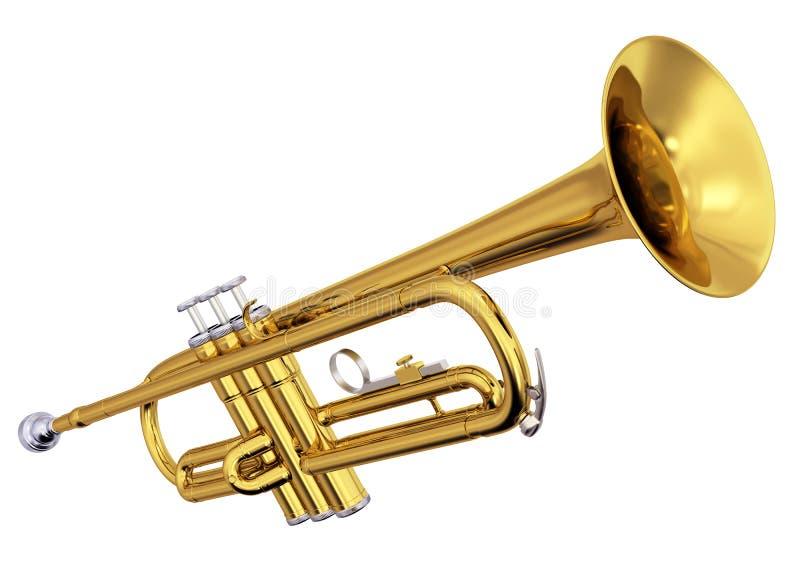 Trombeta de bronze no fundo branco ilustração do vetor