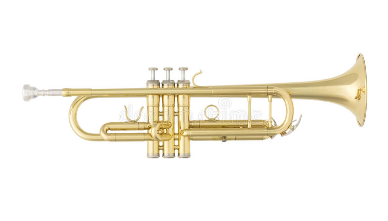 Trombeta dourada isolada no fundo branco fotografia de stock royalty free