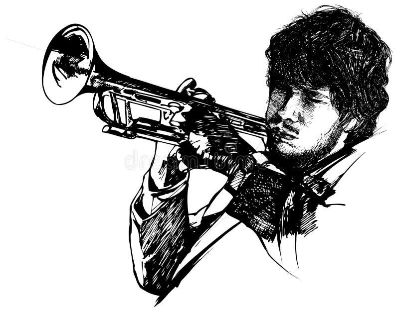 Trombettista di jazz royalty illustrazione gratis