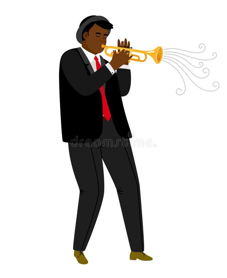 Trombettista di jazz che gioca sul concerto isolato su bianco royalty illustrazione gratis