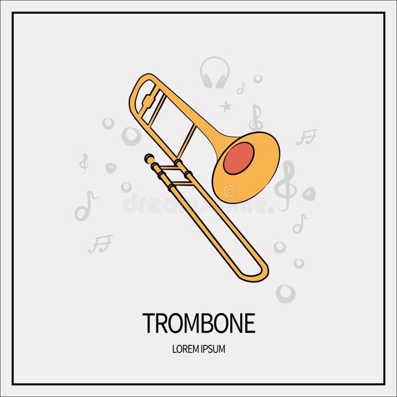 Trombon isolerad symbol royaltyfri illustrationer