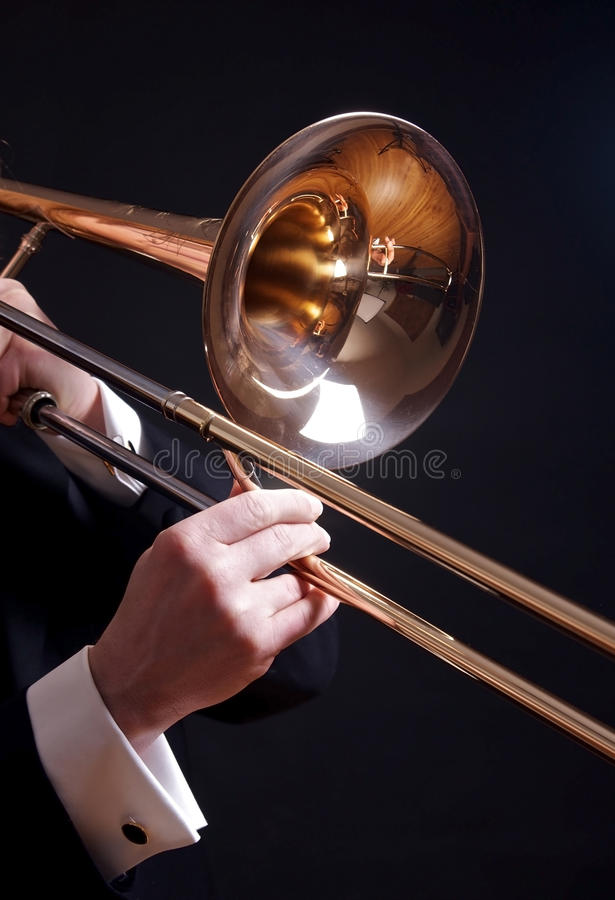 Download Trombone on black stock photo. Image of arts, sound, brass - 19042624