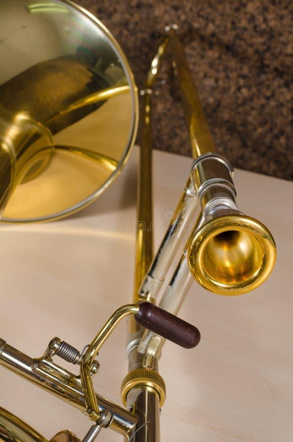 Trombone detail stock image