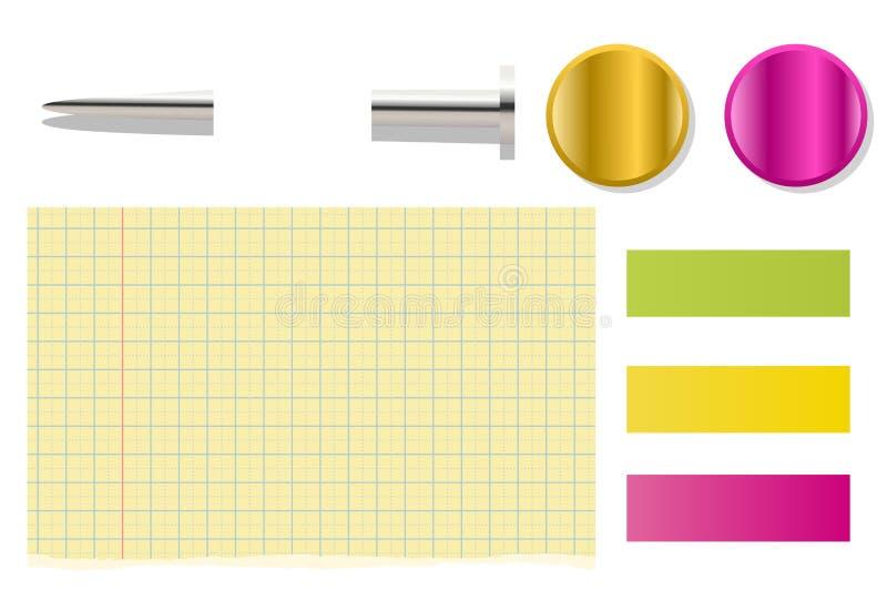 Trombone et bouton, note vide de courrier collante sur le fond blanc photos stock