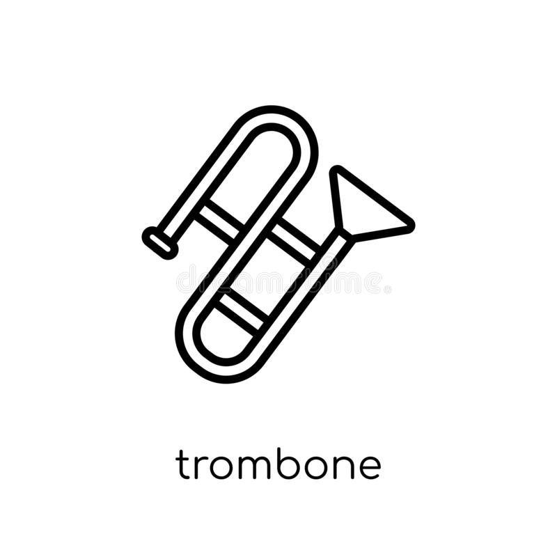 Trombone icon from Music collection. Trombone icon. Trendy modern flat linear vector trombone icon on white background from thin line Music collection, outline vector illustration