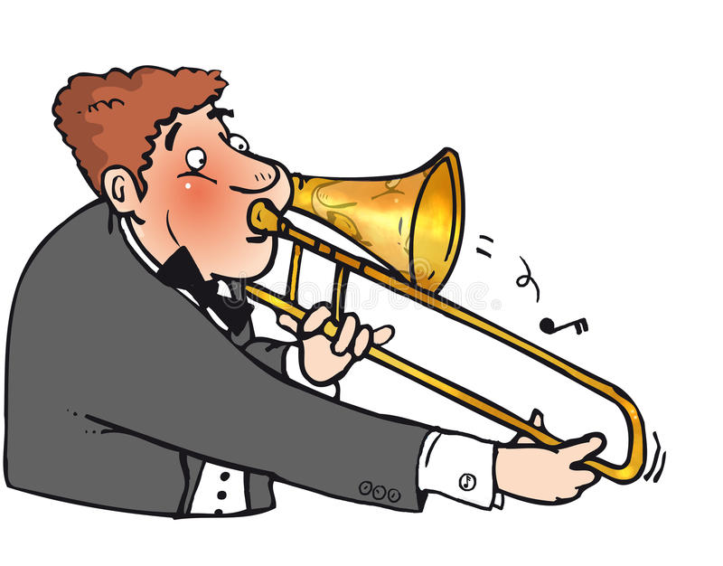 Trombone man. Puffe out man playing a trombone royalty free illustration