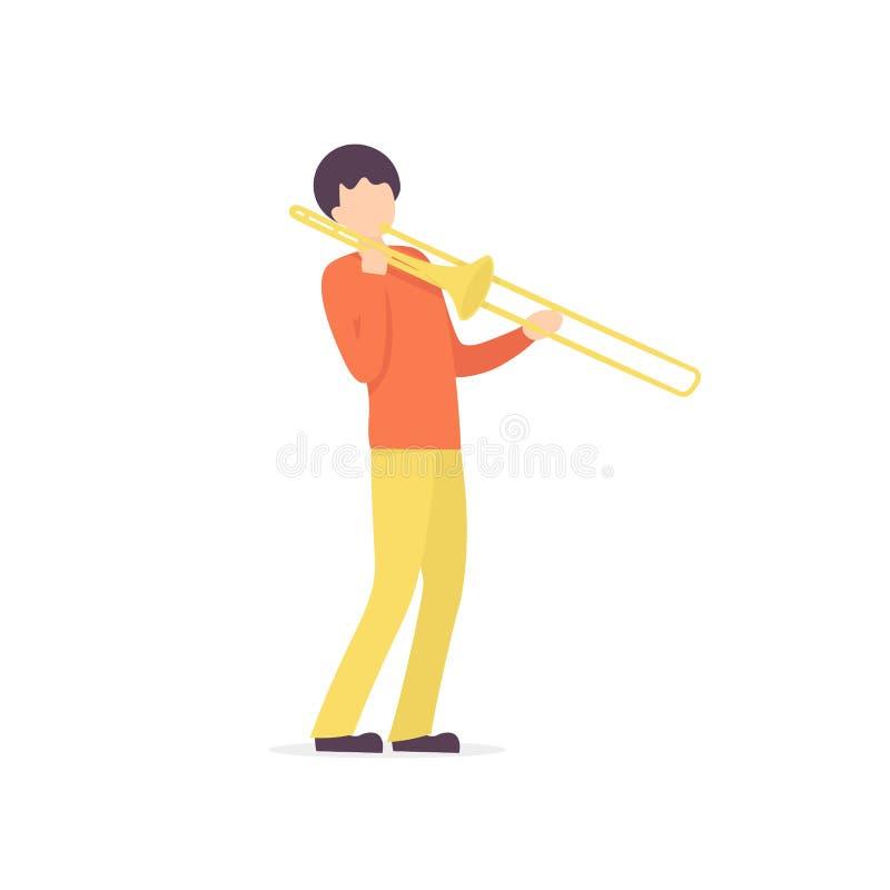 Trombone man character musician royalty free illustration