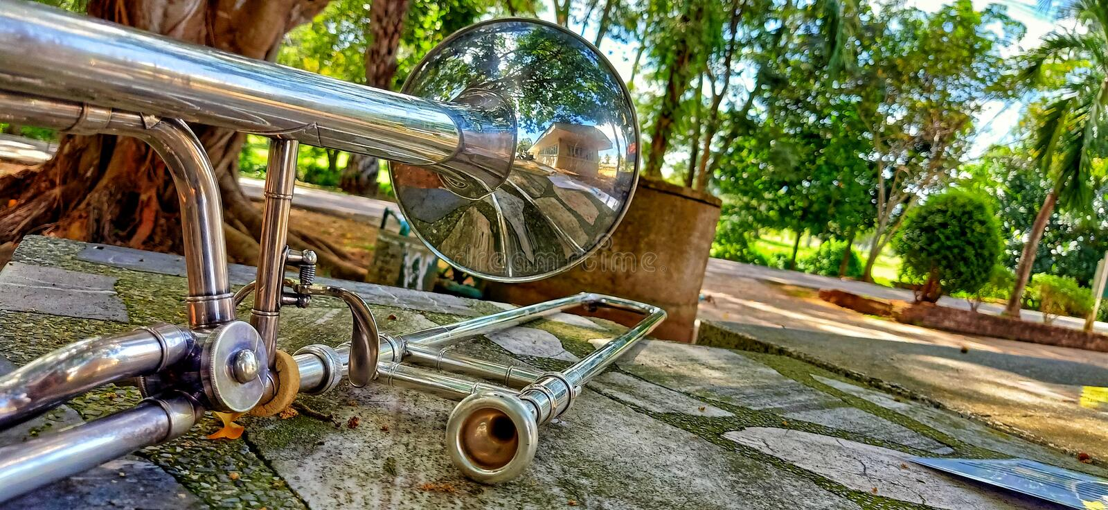 Trombone Musical Instruments,. Blow Music stock images