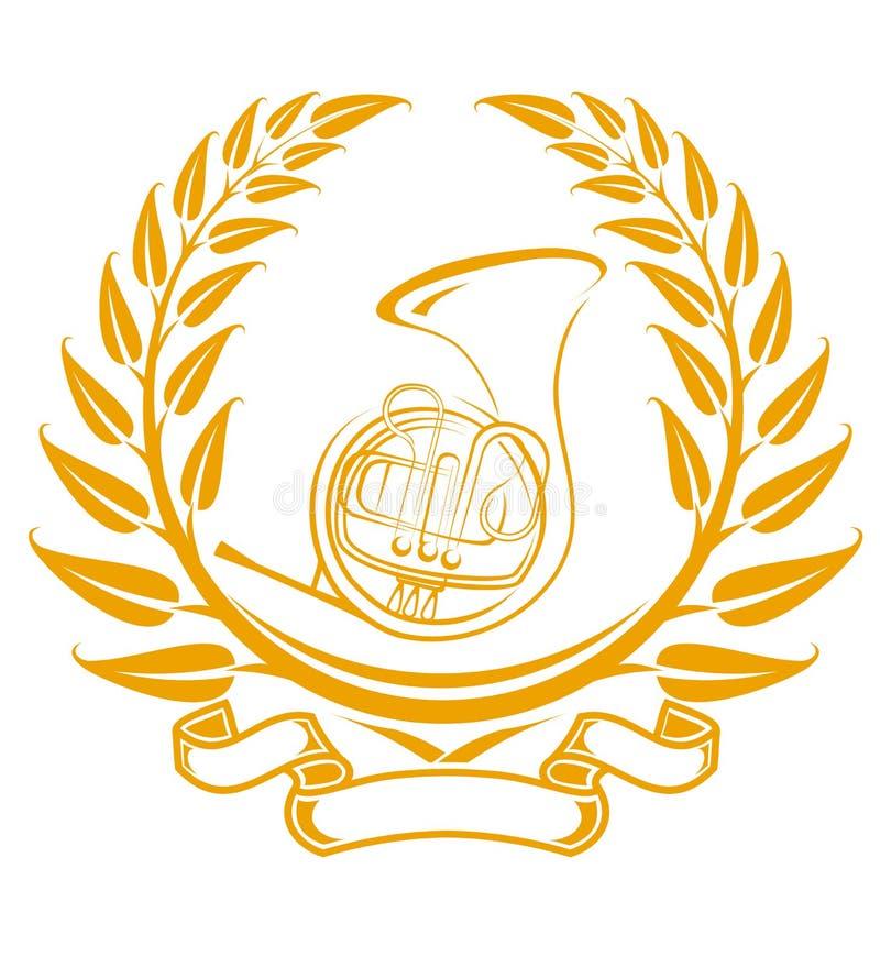 Trombone symbol. In laurel wreath isolated on white vector illustration