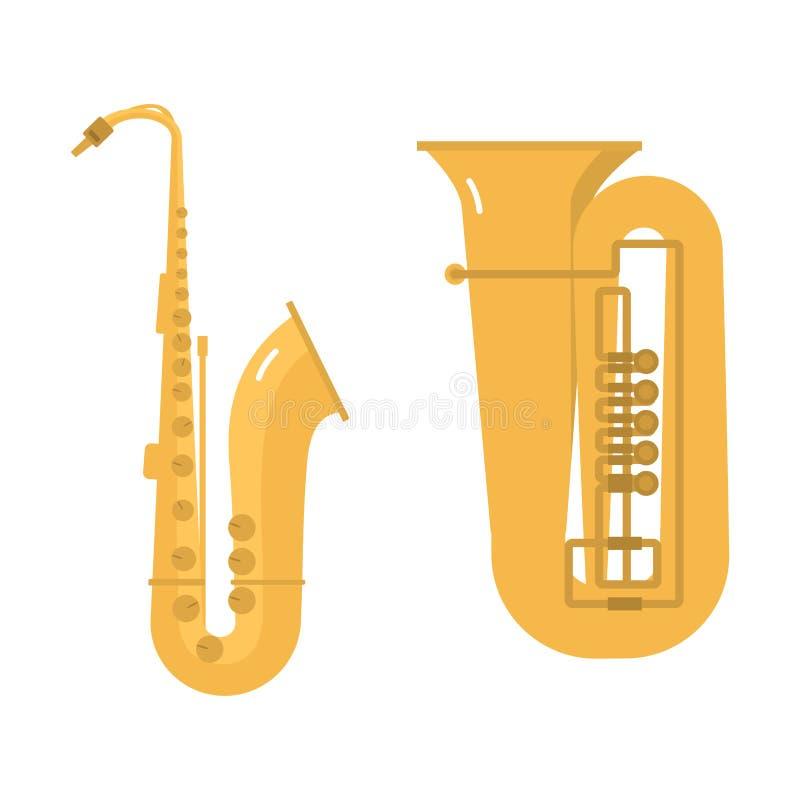 Trombone tuba trumpet classical sound vector illustration. French trombone tuba trumpet classical sound vector illustration. Wind jazz pipe horn band concert royalty free illustration