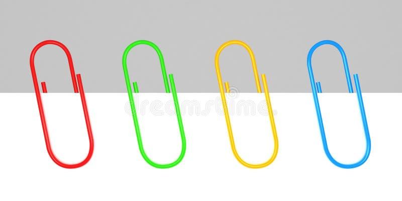Trombones colorés de bureau sur le blanc blanc illustration de vecteur