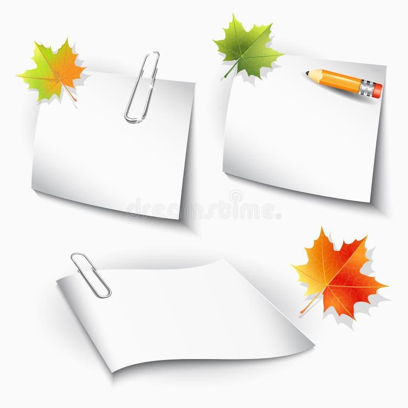 Trombones et feuilles, crayon et feuilles d'automne illustration stock