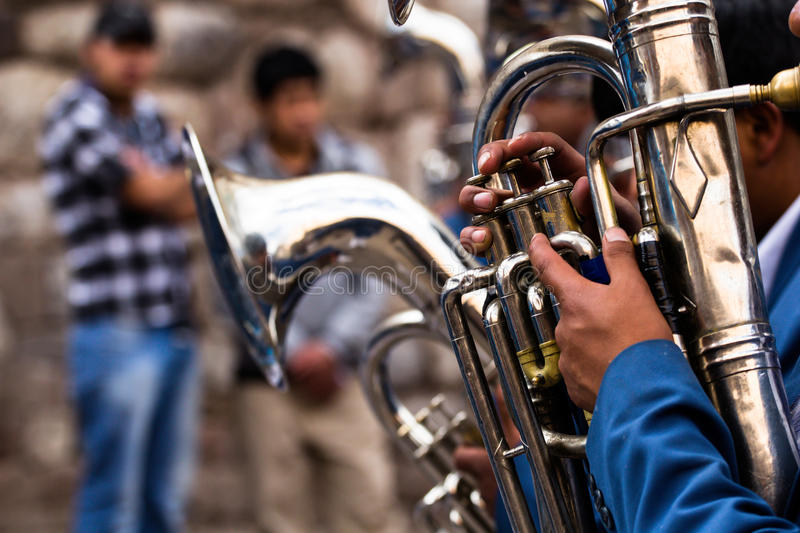 Trombones playing in a big band. Trombones playing in a big band stock photos