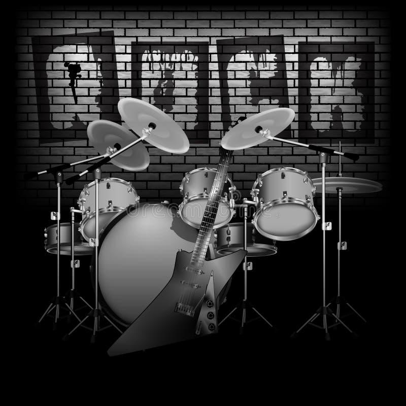 Trommel eingestellt mit E-Gitarren-Felsen und -Backsteinmauer lizenzfreie abbildung