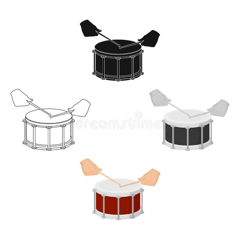 Trommel, percussie muzikaal instrument De trommel schoot enig pictogram in beeldverhaal, het zwarte Web van de de voorraadillustr vector illustratie
