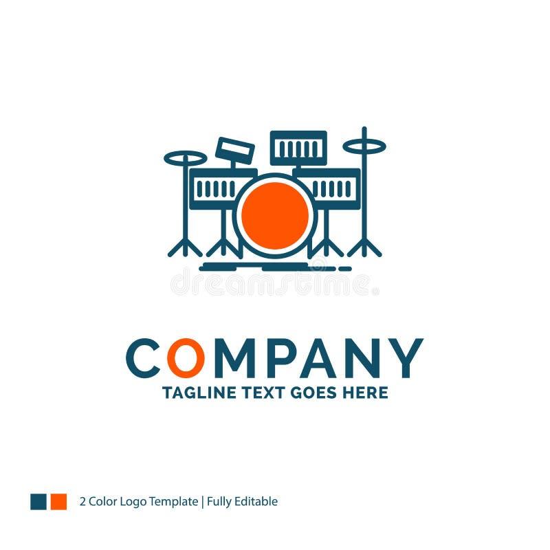 trommel, trommels, instrument, uitrusting, muzikaal Logo Design Blauw en Oran royalty-vrije illustratie