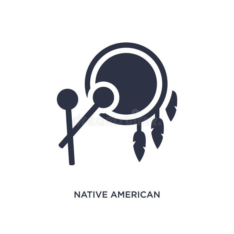 Trommelikone des amerikanischen Ureinwohners auf weißem Hintergrund Einfache Elementillustration vom Kulturkonzept vektor abbildung