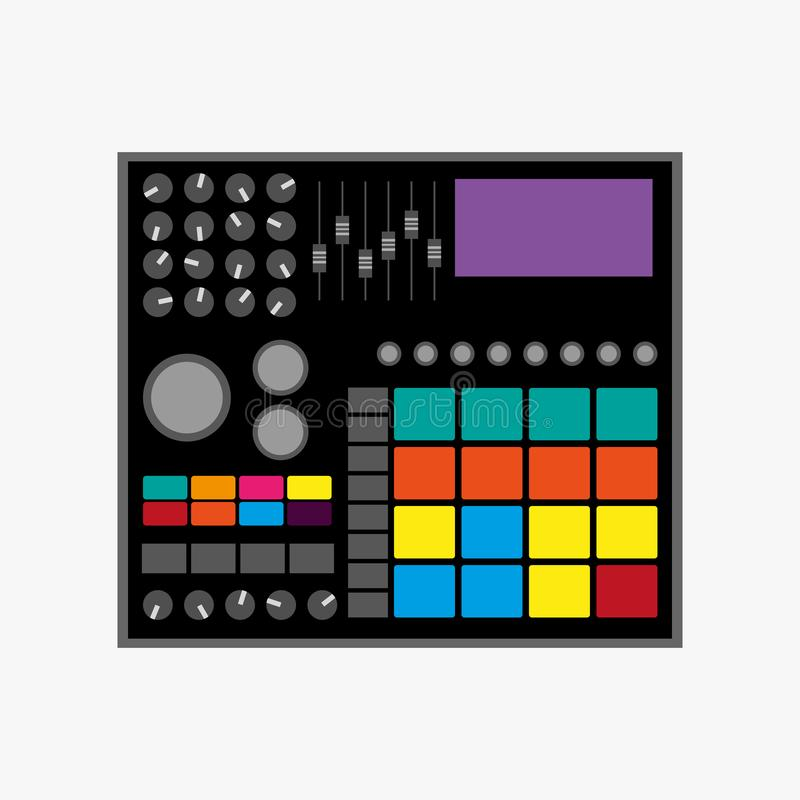 Trommelmachine Vector illustratie Vlak pictogram, embleem stock illustratie