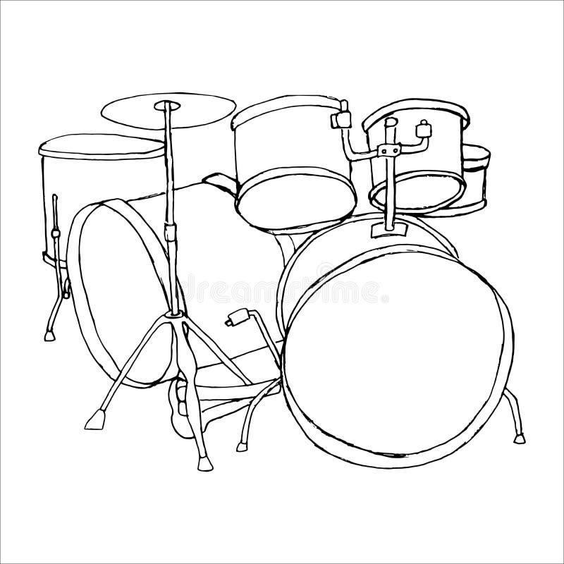 Trommeln kritzeln Hand gezeichnete Skizze auf weißem Hintergrund stockfotos