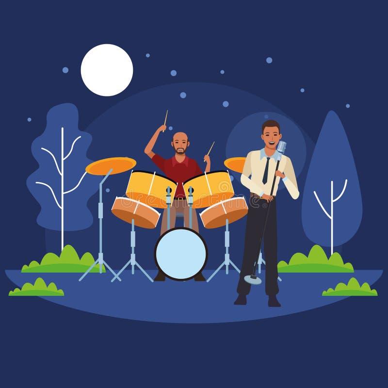 Trommeln spielender und singender Musiker stock abbildung