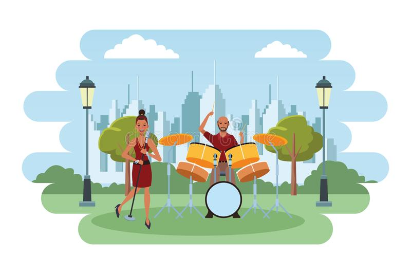 Trommeln spielender und singender Musiker lizenzfreie abbildung