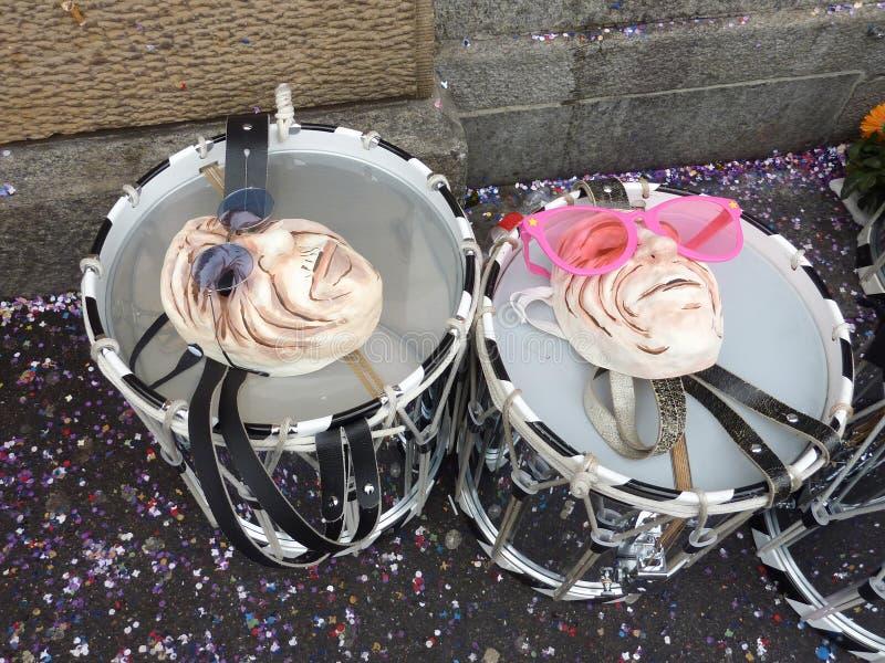 Trommels en maskers, Carnaval in Bazel royalty-vrije stock foto