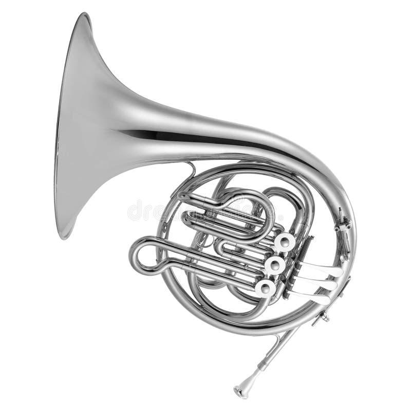 Trompa francesa de prata isolada no branco fotos de stock royalty free