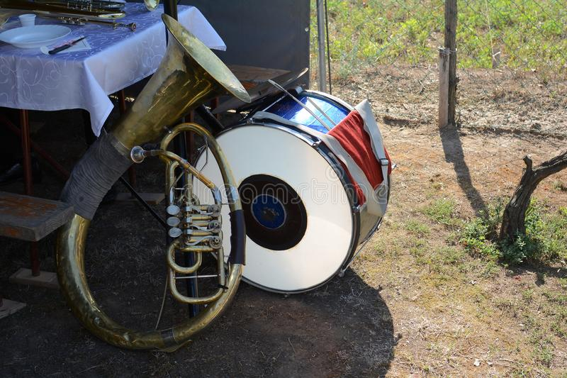 Trompa y tambor fotografía de archivo