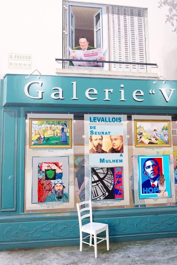 Trompe Oeil stads- illusion Frankrike fotografering för bildbyråer