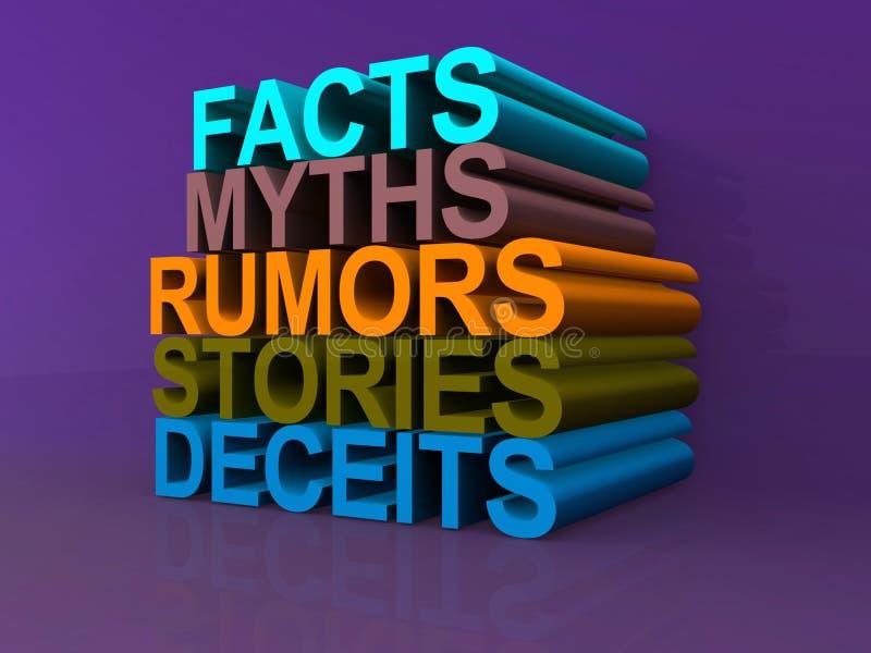 Tromperies d'histoires de rumeurs de mythes de faits illustration de vecteur