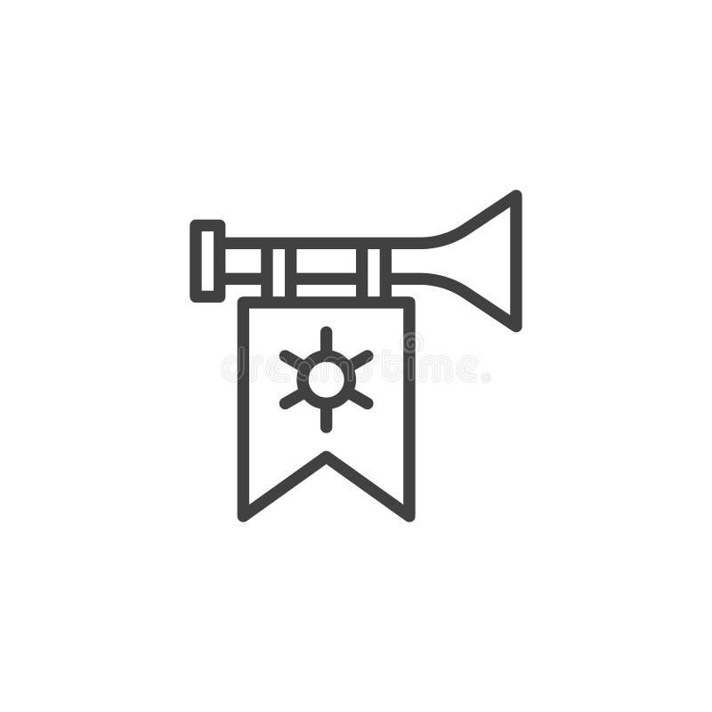 Trompet met het pictogram van het vlagoverzicht vector illustratie
