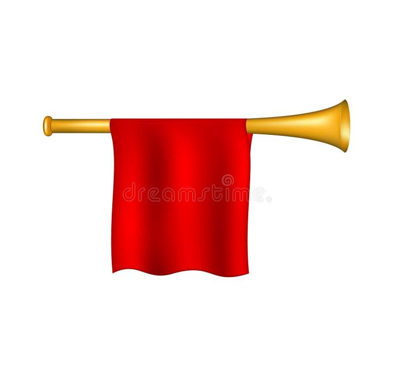 Trompet met rode vlag stock illustratie