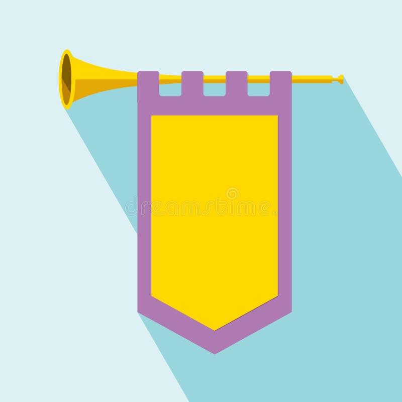 Trompet met vlagpictogram royalty-vrije illustratie