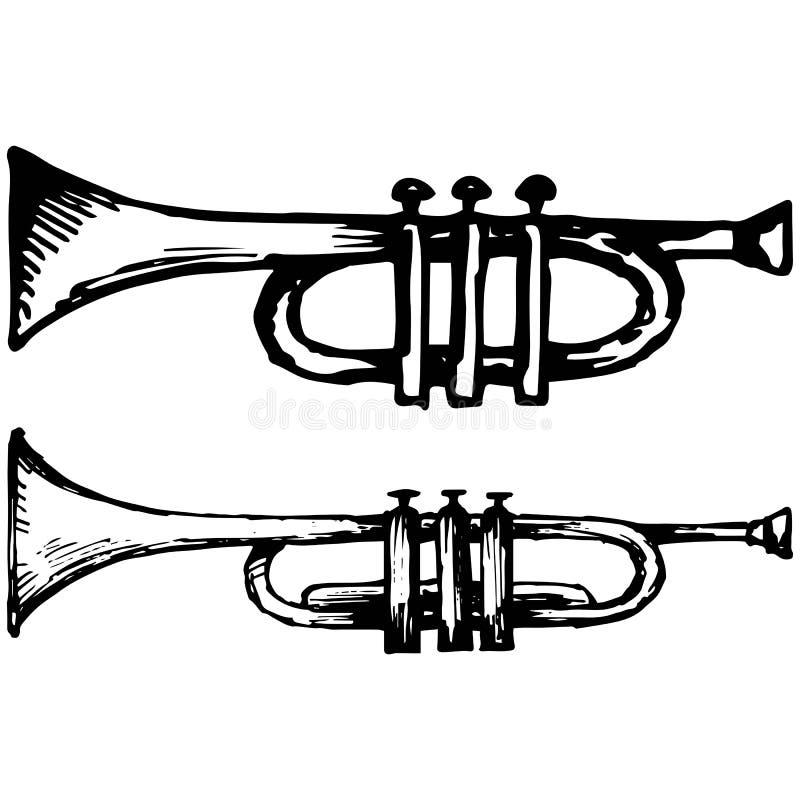 Trompet, muzikaal instrument vector illustratie