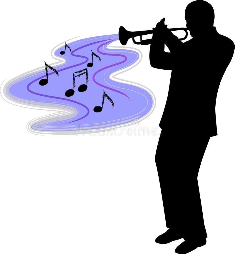 Trompet player/ai stock illustratie