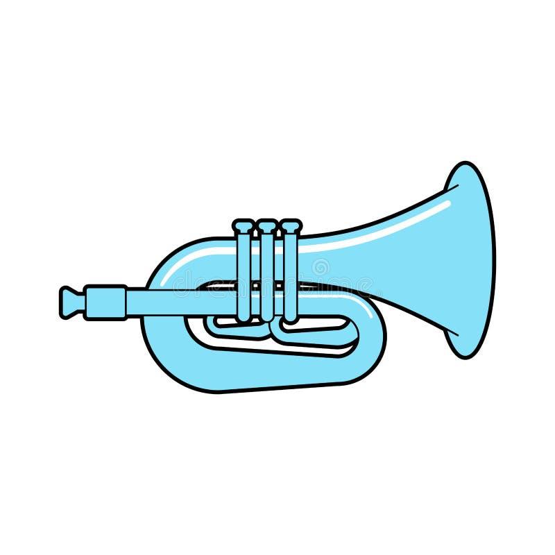 Trompeta aislada Instrumento musical Ejemplo del vector del cuerno ilustración del vector