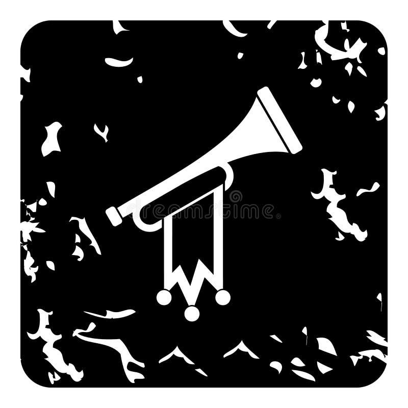 Trompeta con el icono de la bandera, estilo del grunge libre illustration