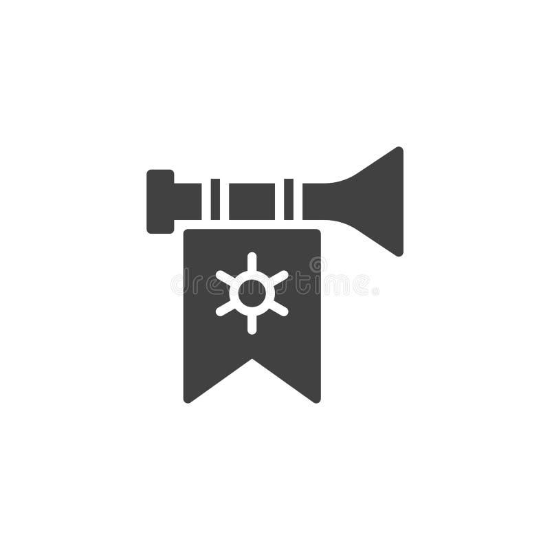 Trompeta con el icono del vector de la bandera libre illustration