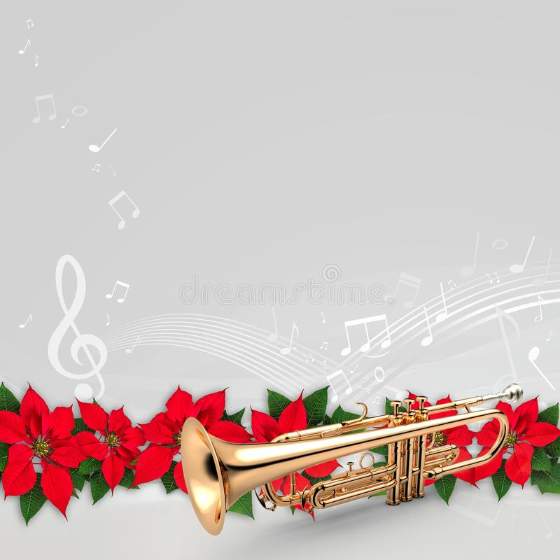 Trompeta con el ornamento rojo de la Navidad de la flor de la poinsetia imagen de archivo