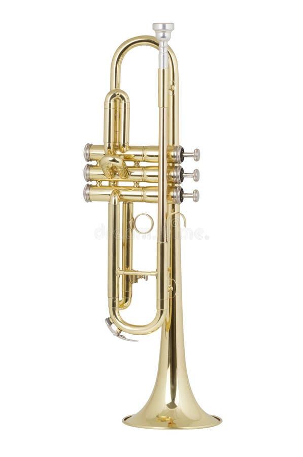 Trompeta de cobre amarillo fotografía de archivo libre de regalías