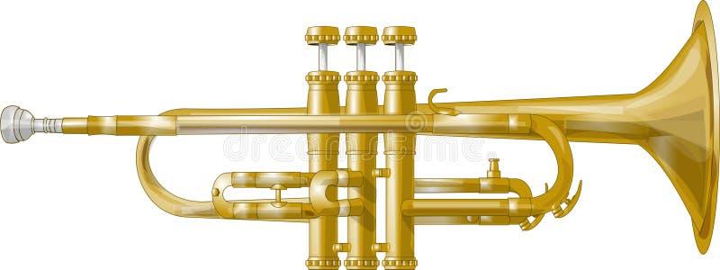 Trompeta de cobre amarillo stock de ilustración