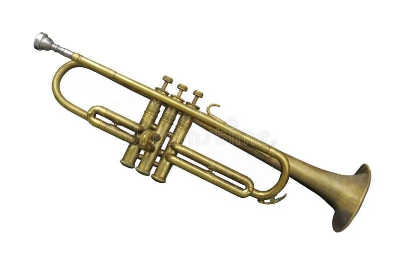 Trompeta de cobre amarillo vieja aislada imagen de archivo