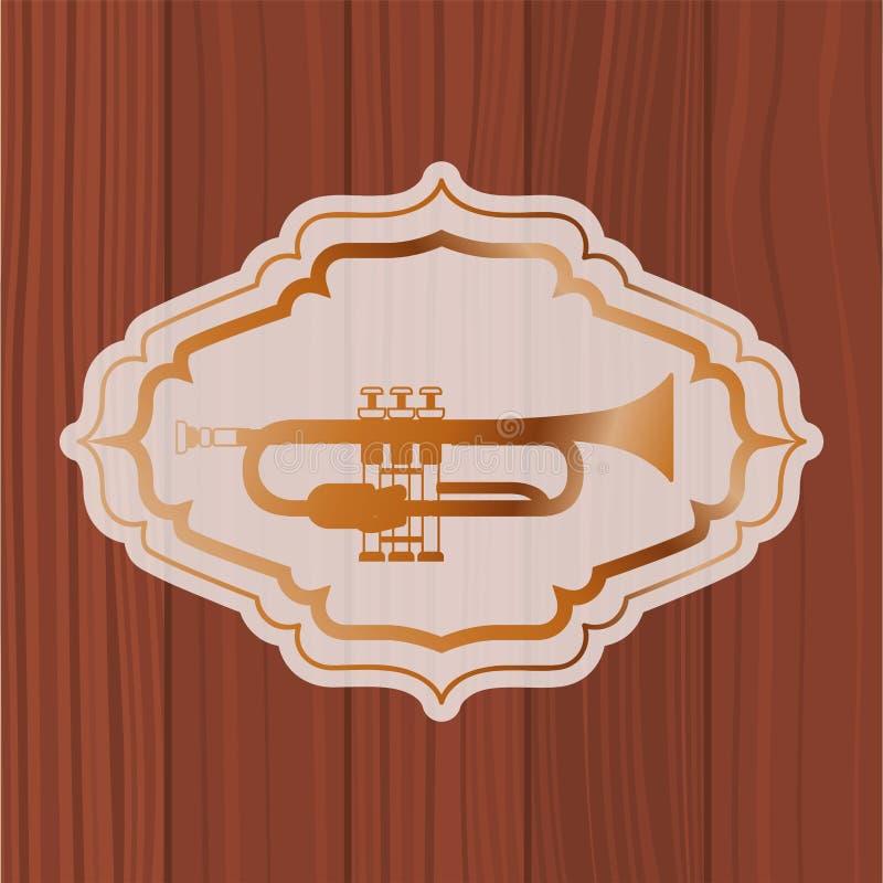 Trompeta de la música en marco con el fondo de madera stock de ilustración
