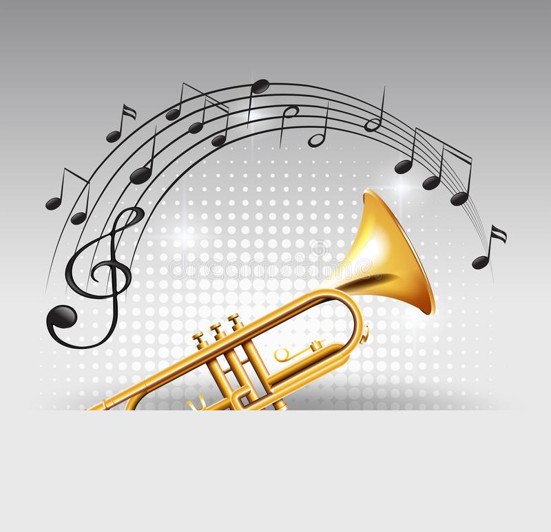 Trompeta de oro con las notas de la música en fondo ilustración del vector