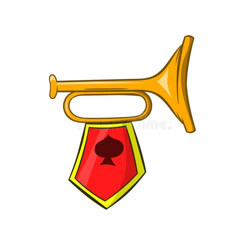 Trompeta de oro con un icono de la bandera roja, estilo de la historieta stock de ilustración