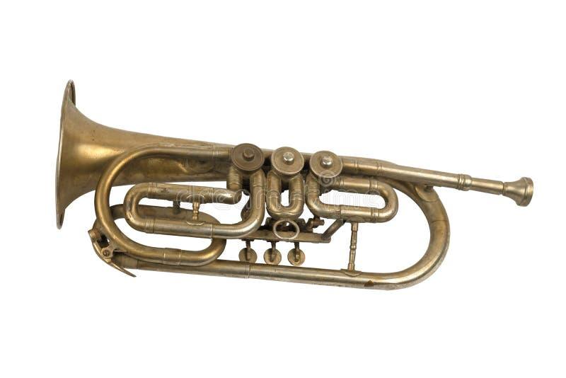 Trompeta de oro vieja fotografía de archivo libre de regalías