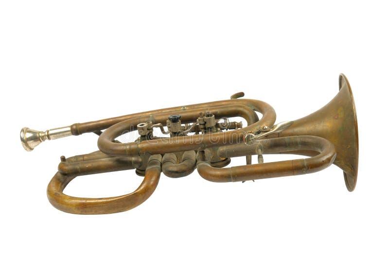 Trompeta de oro vieja foto de archivo libre de regalías
