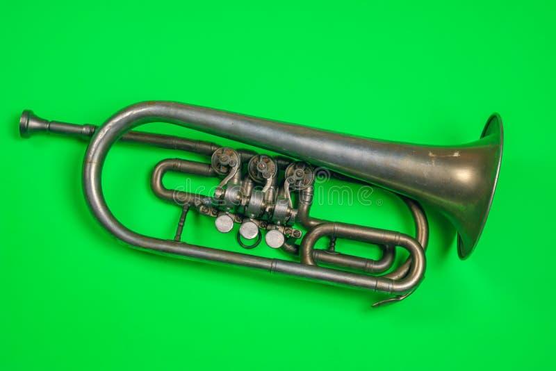 Trompeta de plata vieja fotografía de archivo libre de regalías